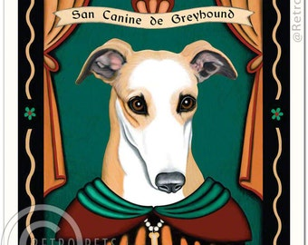 8x10 Greyhound Art - Patron Saint of Couch Potatoes -  Art print by Krista Brooks