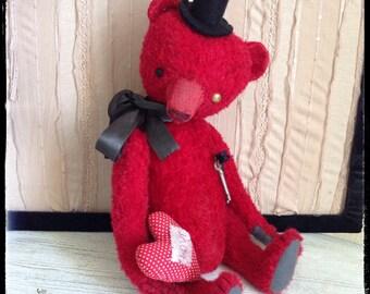 17 inch Artist Handmade Red OOAK Mohair Teddy Bear  Mr Keyholder by Sasha Pokrass