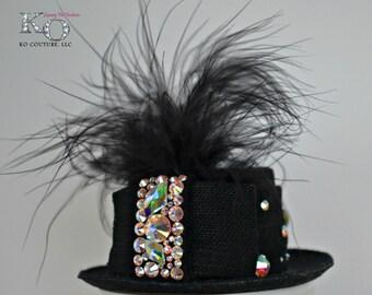 Dog Top Hat, Black, Bling