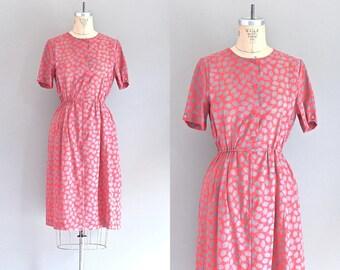 vintage 1970s dress • tulip print dress • day 70s dress • small medium