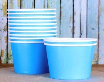 Large Blue Ice Cream Cups, Blue Ice Cream Bowls, Sundae Cups, Ice Cream Party Cups, Blue Dessert Cups, 8oz Paper Ice Cream Cups (18)