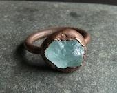 Aquamarine Raw Crystal Ring Rough Stone Jewelry Copper Aquamarine Ring Copper Gemstone Ring Size 6.5 Ring March Birthstone