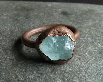 Aquamarine Raw Crystal Ring Rough Stone Jewelry Copper Aquamarine Ring Copper Gemstone Ring Size 6.5 Ring March Birthstone