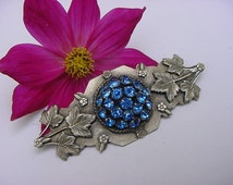 SALE....Stunning Art Nouveau to Early Art Deco Sapphire Blue Domed Silver Plated Leaf  & Flower Layered Broch Pin