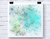 Abstract Art Print. Star Clusters inspired. Generative Art. open edition Tiedye18, by San Francisco artist. Turquoise Blue,  Green, Brown