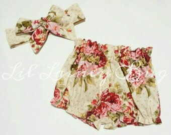 SALE High Waisted Shorts and Head Wrap SET -Baby Toddler Girls Bloomers Shorties -Summer, Birthday Pics, Birthday Gift- Vintage Tan Floral