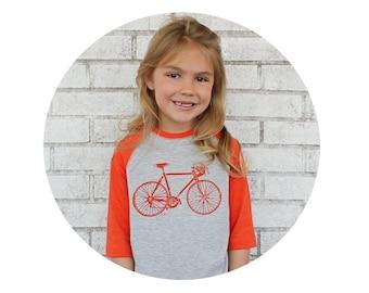 Youth Bicycle Tshirt Hand Screenprinted, 3/4 sleeves, Orange and Heather Grey, Road Bike, Raglan Tee Shirt, Graphic Tshirt, Kids Clothes
