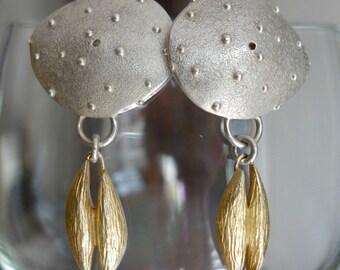 Artisan Designer Sterling SIlver Gold Wash Earrings