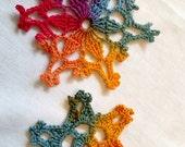 Crocheted Rainbow Snowflake Ornaments Set of 2