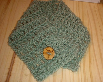 Scarf Neckwarmer Scarflette Wool Acrylic Soft Yarn - Hand Crocheted - Spalted Wood Button - Dusky Seafoam Green