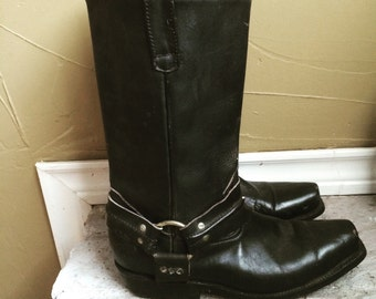 Vintage Black Motorcycle Boots- 7 1/2-8