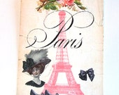 Pink Paris Tags - Set of 6 - Pink Eiffel Tower - Vintage Look - Thank Yous - French Fashion - Elegant French  - Merchandise Tags
