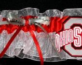 Wedding Bridal Garter Handmade with Ohio State Fabric Buckeyes, Personalized