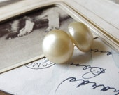 Large Vintage Pearl Post Earrings -over sized pearl posts, cream, off white, ivory, shabby chic, classic, bridal earrings