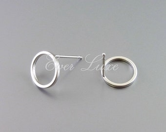 4 round 10mm circle stud earrings, hoop earrings, earring making, jewelry, jewellery supplies 1071-MR-10 (matte silver, 10mm, 4 pieces)