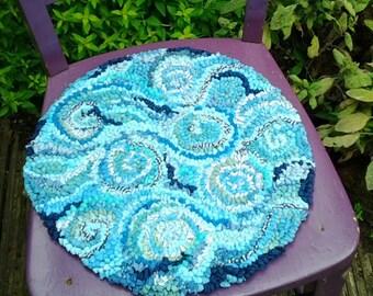 Chair cushion,upcycled cushion,seat pad,rag rug cushion,seascape