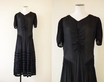 Agathe dress    Black see through chiffon silk flapper dress with velvet ribbon    1920's by cubesandsquirrels    medium