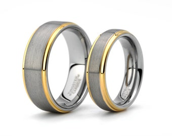 Brushed Tungsten Wedding Ring Tungsten Matching Set Yellow Gold Plated edge Mens Women's Rings Sets 8mm 6mm