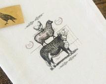 Farmhouse Tea Towel - Cow - Sheep - Chicken - White Tea Towel - Kitchen Tea Towel - French Farmhouse Kitchen Decor - Flour Sack Tea Towel