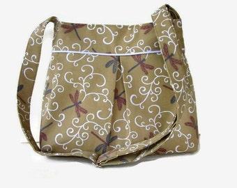 Khaki Dragonfly Print Fabric Crossbody Bag - Womens Messenger Bag - Dragonfly Purse - Khaki Tan Shoulder Bag