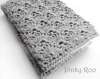 Girly Crochet Baby Blanket made in lovely fan design in crib size with a soft acrylic yarn