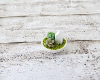 Terrarium with succulents and house in a bowl for dollhouse in 1:12 scale