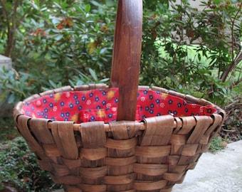 Red Fabric Lined Gathering Basket - Split Wood - Hand Woven - Gift Basket -  Handle Basket - Tote - Porch Decor - Garden - Floral - Calico