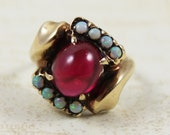 Vintage 1940s 10k Gold Synethic Ruby and Opal Ring Size 4.5