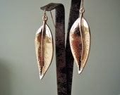 Valentine's Day gifts - Large Leaf Earrings - Golden Color - girlfriend gift - Dangle Earings - valentines gifts for her - fiance gift -girl