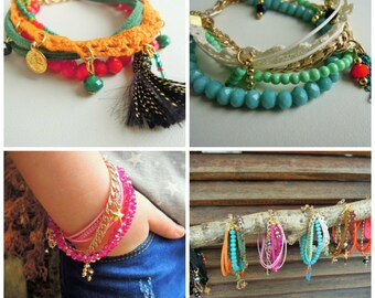 Friendship Bracelet, Boho Bracelet, Bohemian Bracelet Gypsy Jewelry, Gypsy Bracelet, Multiple Strand Bracelet, Bohemian , jewelry ,bracelets