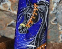 Black Arabian Horse Necklace hand painted domino