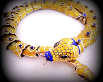 Stunning Yellow Enamel Sterling Silver Snake Articulated Vintage Necklace Mexico Jeronimo Fuentes