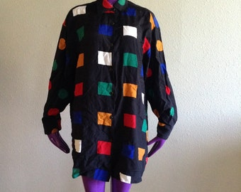 Vintage 80s Geometric Shirt Rainbow New Wave Abstract Print1980s Express Blouse