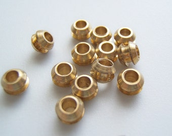 25 - Solid Brass  6mm Beads/ Spacers w/Groove