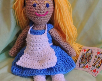 Alice In Wonderland Crocheted Doll Disney Lewis Carroll Inspired Fairy Tale Princess Through the Looking Glass