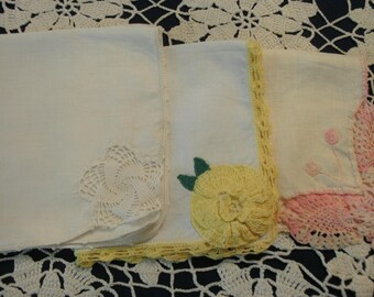 Three hand crochet handkerchiefs In White Pink Yellow