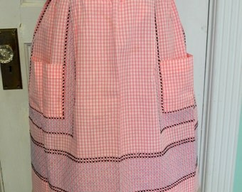 Vintage Handmade Embroidered Pink and White Gingham Apron 1960s 1970s