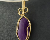 Sugilite Pendant in Gold Filled Wire