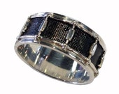 Hand Crafted  Sterling Silver Snare Drum Wedding Ring Size 4-15.5