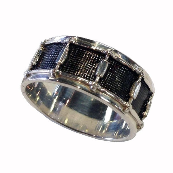 hand crafted sterling silver snare drum wedding ring size 4 155 - Size 4 Wedding Rings