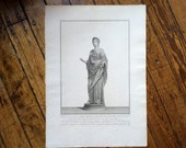 1784 PIRANESI STATUE of FLORA engraving rare & important original antique Italian sculpture etching - goddess of flowering plants