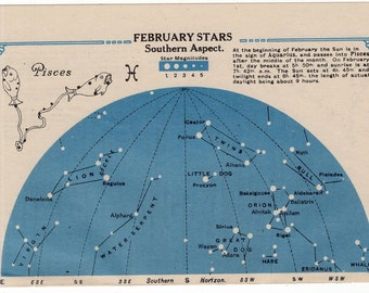 1920 PISCES star chart original vintage celestial astronomy lithograph - february stars southern aspect & march stars northern aspect