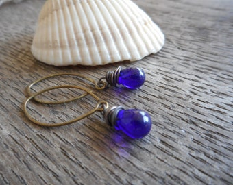 The Drops Of Neptune glass droplet earrings. Rustic wire wrapped cobalt blue Czech glass droplets