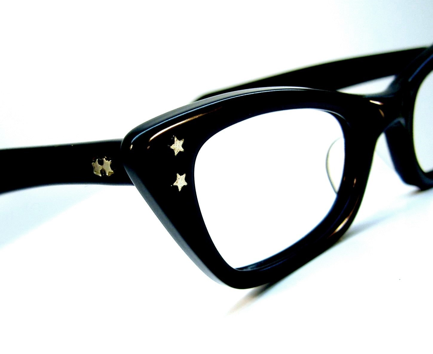 Eyeglass Frame Usa : Vintage Black Cateye Eyeglasses Eyewear Frame USA