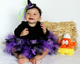 Witch Costumes | Baby Girl Costumes | Halloween Costume Baby Girl | Baby Halloween Costume | Purple Witch Tutu Costume | Mini Witch Hat