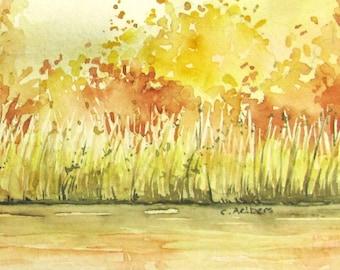 Autumn Landscape Art Original Watercolor