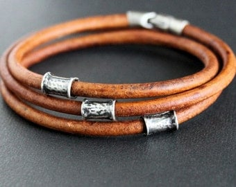Mens Leather Wrap Bracelet Silver Tube Beads
