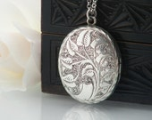 Antique Sterling Silver Locket | Victorian Locket | Art Nouveau Engraving | Large Oval Locket Necklace - 34 Inch Long Chain Included