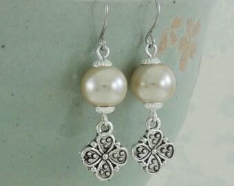 Beige Flower Drop Earrings, Flower Charm Earrings Silver, Pearl Dangle Earrings, Antique Silver Flower Charms, Surgical Steel Earring