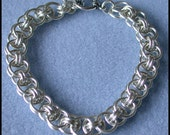 Helm Bracelet Chain maille Kit with Tutorial in 16 gauge Non Tarnish Silver Plate, with toggle clasp and connector rings